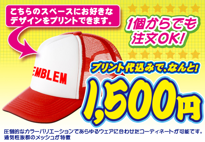 オリジナルキャップ1500プラン